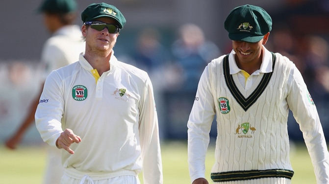 "Usman Khawaja laughed when Steve Smith said he was ""covering for Pup""."